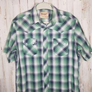 Wrangler Shirts - Wrangler Vintage Pearl Snap Plaid Western Shirt
